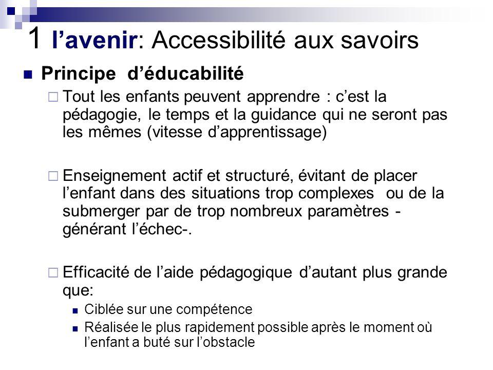 1 lavenir: Accessibilité aux savoirs Principe déducabilité Tout les enfants peuvent apprendre : cest la pédagogie, le temps et la guidance qui ne sero