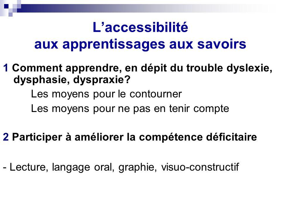 Laccessibilité aux apprentissages aux savoirs 1 Comment apprendre, en dépit du trouble dyslexie, dysphasie, dyspraxie?…..
