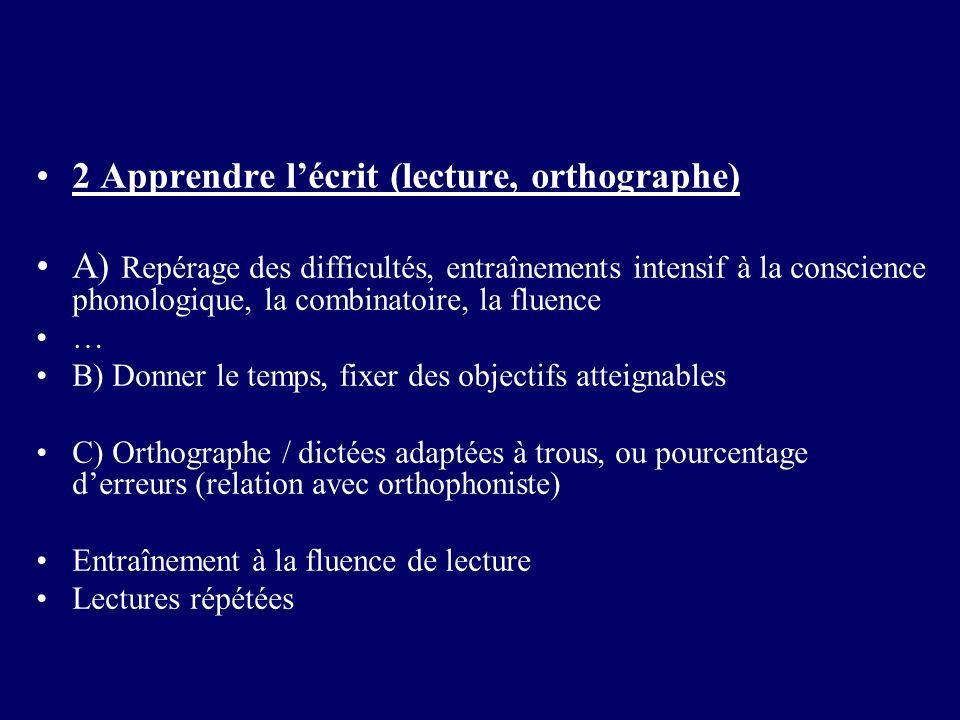 2 Apprendre lécrit (lecture, orthographe) A) Repérage des difficultés, entraînements intensif à la conscience phonologique, la combinatoire, la fluenc