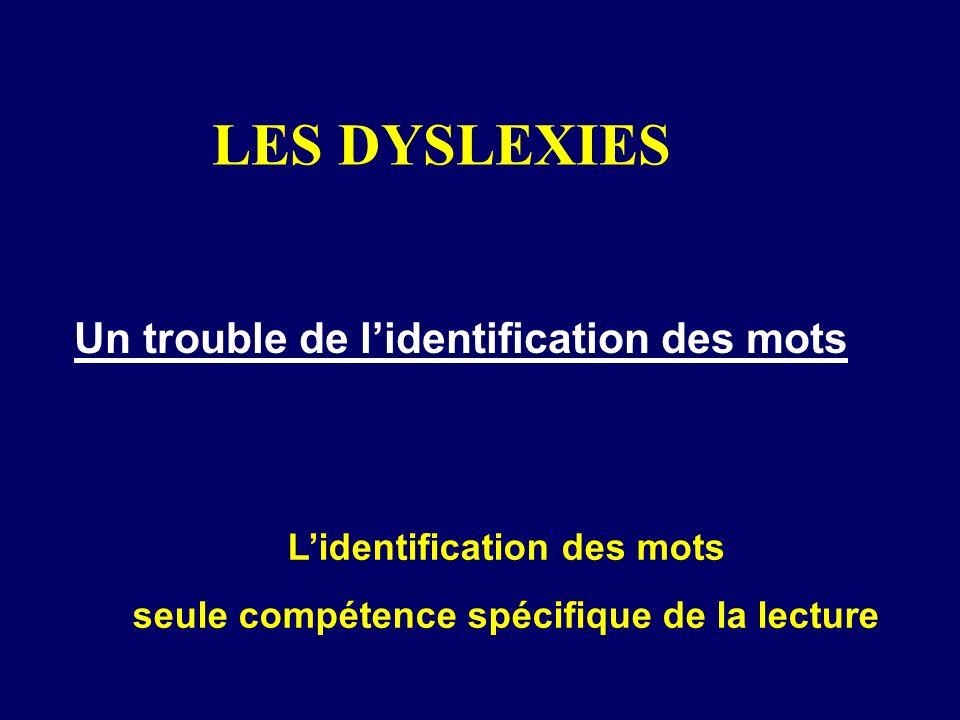 LES DYSLEXIES Un trouble de lidentification des mots Lidentification des mots seule compétence spécifique de la lecture