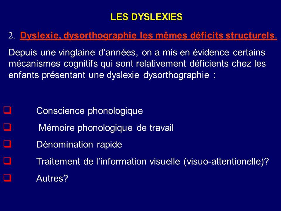 Conscience phonologique Mémoire phonologique de travail Dénomination rapide Traitement de linformation visuelle (visuo-attentionelle)? Autres? LES DYS