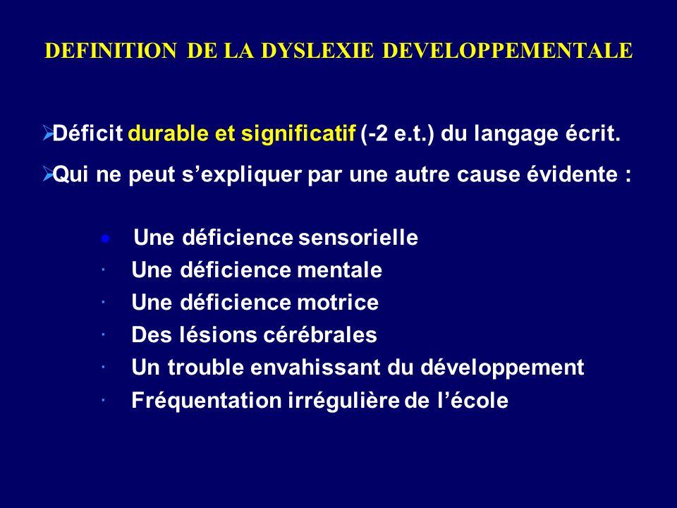 DEFINITION DE LA DYSLEXIE DEVELOPPEMENTALE Déficit durable et significatif (-2 e.t.) du langage écrit. Qui ne peut sexpliquer par une autre cause évid