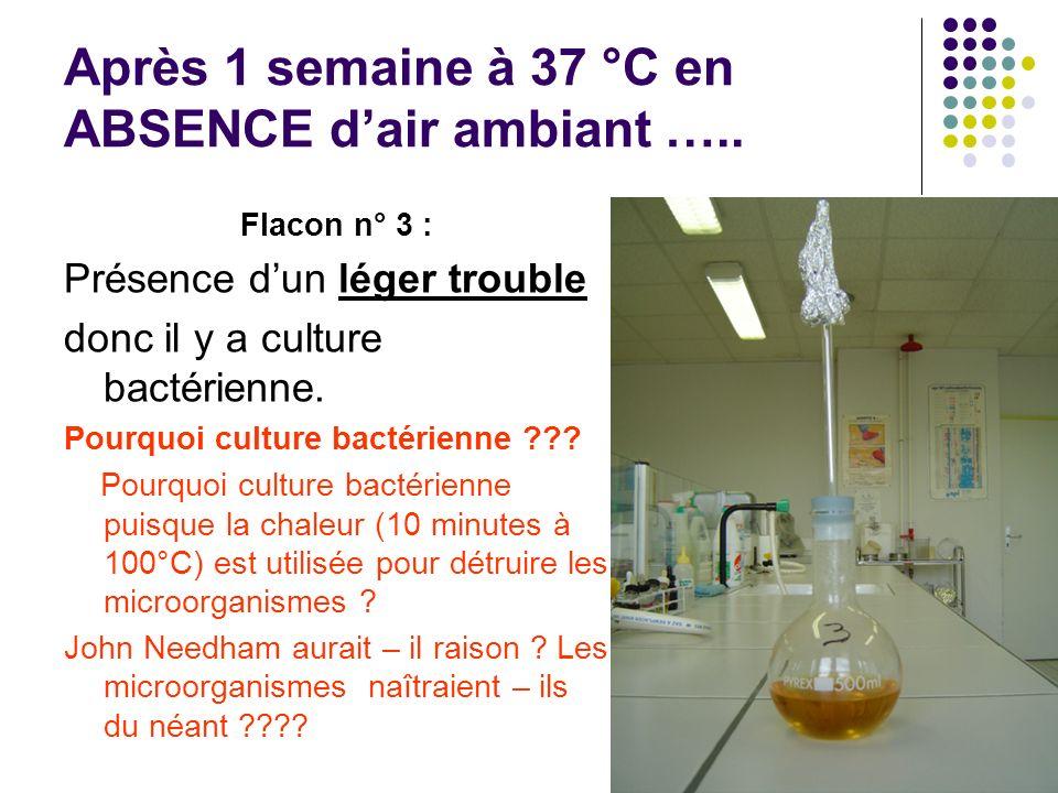 Les expériences de Louis Pasteur Compte rendu d expérience, 1860-1861 : Expérience 1 : « Je place dans un ballon à long col une infusion très favorable au développement des microbes.