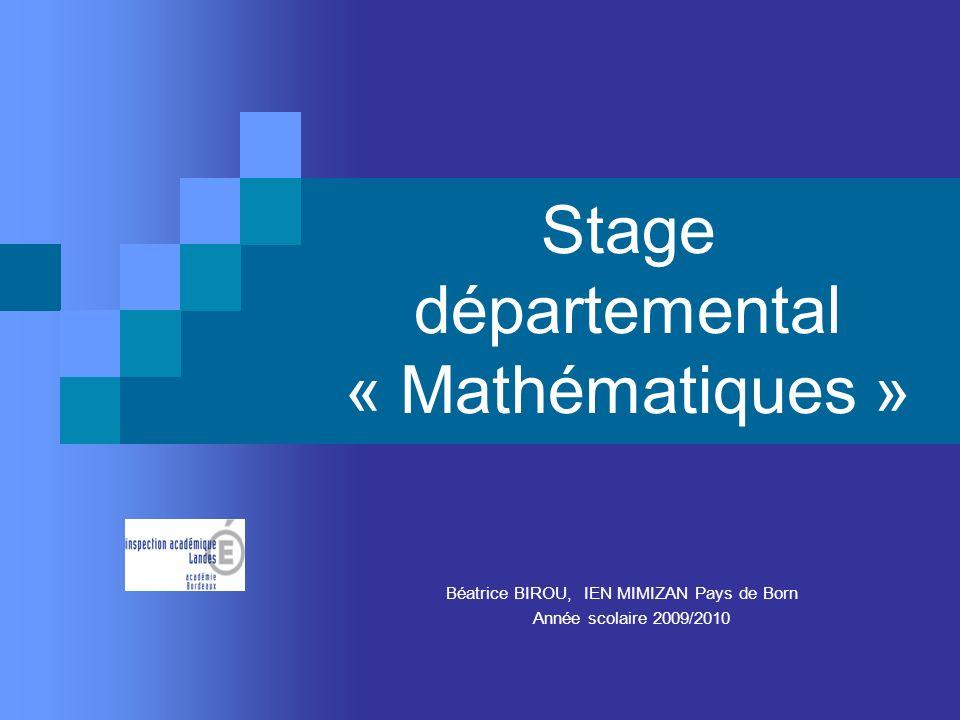 Stage départemental « Mathématiques » Béatrice BIROU, IEN MIMIZAN Pays de Born Année scolaire 2009/2010