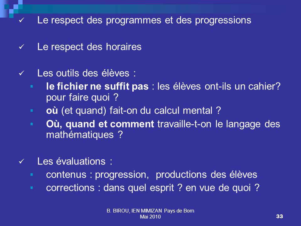 B. BIROU, IEN MIMIZAN Pays de Born Mai 201033 Le respect des programmes et des progressions Le respect des horaires Les outils des élèves : le fichier