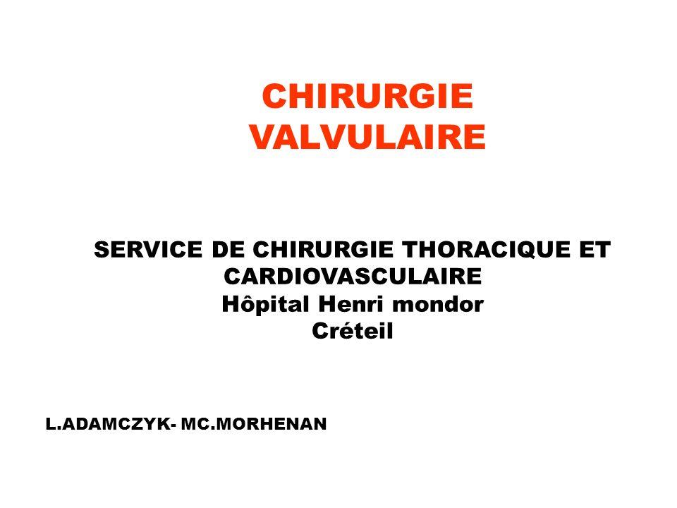 CHIRURGIE VALVULAIRE SERVICE DE CHIRURGIE THORACIQUE ET CARDIOVASCULAIRE Hôpital Henri mondor Créteil L.ADAMCZYK- MC.MORHENAN