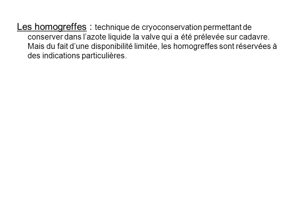 Les homogreffes : technique de cryoconservation permettant de conserver dans lazote liquide la valve qui a été prélevée sur cadavre. Mais du fait dune