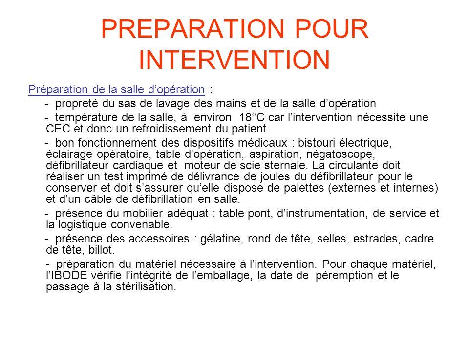 PREPARATION POUR INTERVENTION Préparation de la salle dopération : - propreté du sas de lavage des mains et de la salle dopération - température de la