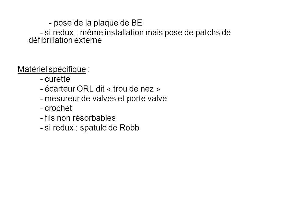 - pose de la plaque de BE - si redux : même installation mais pose de patchs de défibrillation externe Matériel spécifique : - curette - écarteur ORL