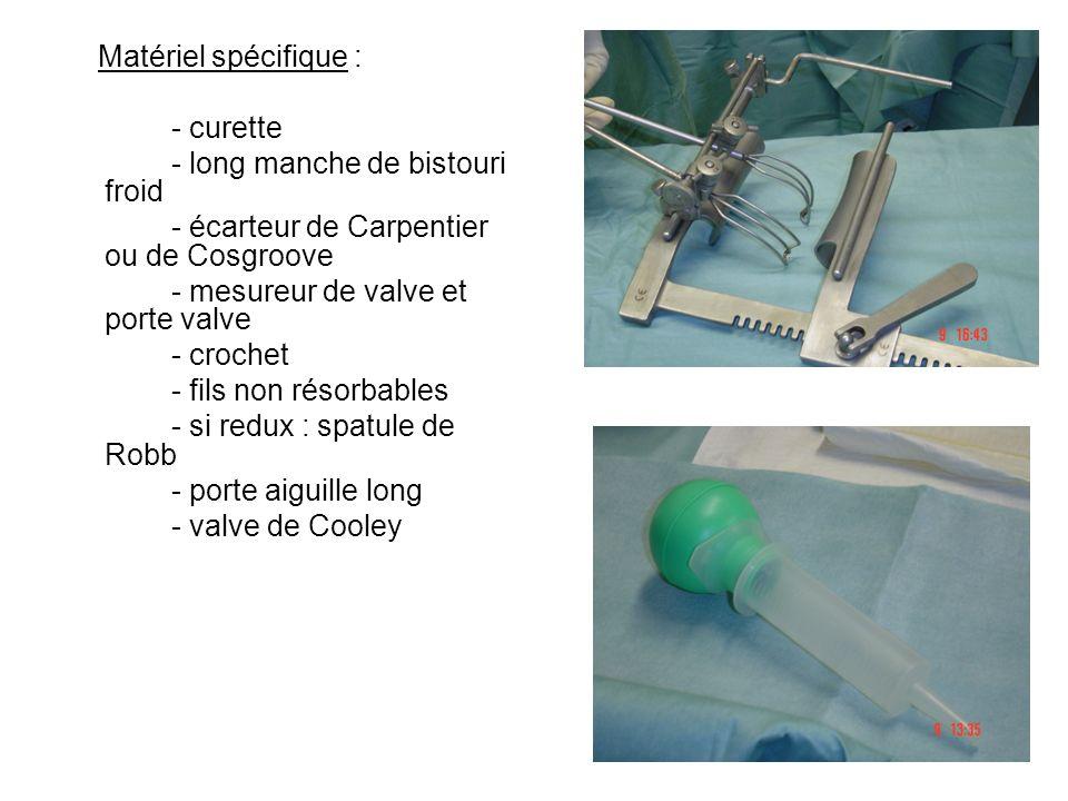 Matériel spécifique : - curette - long manche de bistouri froid - écarteur de Carpentier ou de Cosgroove - mesureur de valve et porte valve - crochet