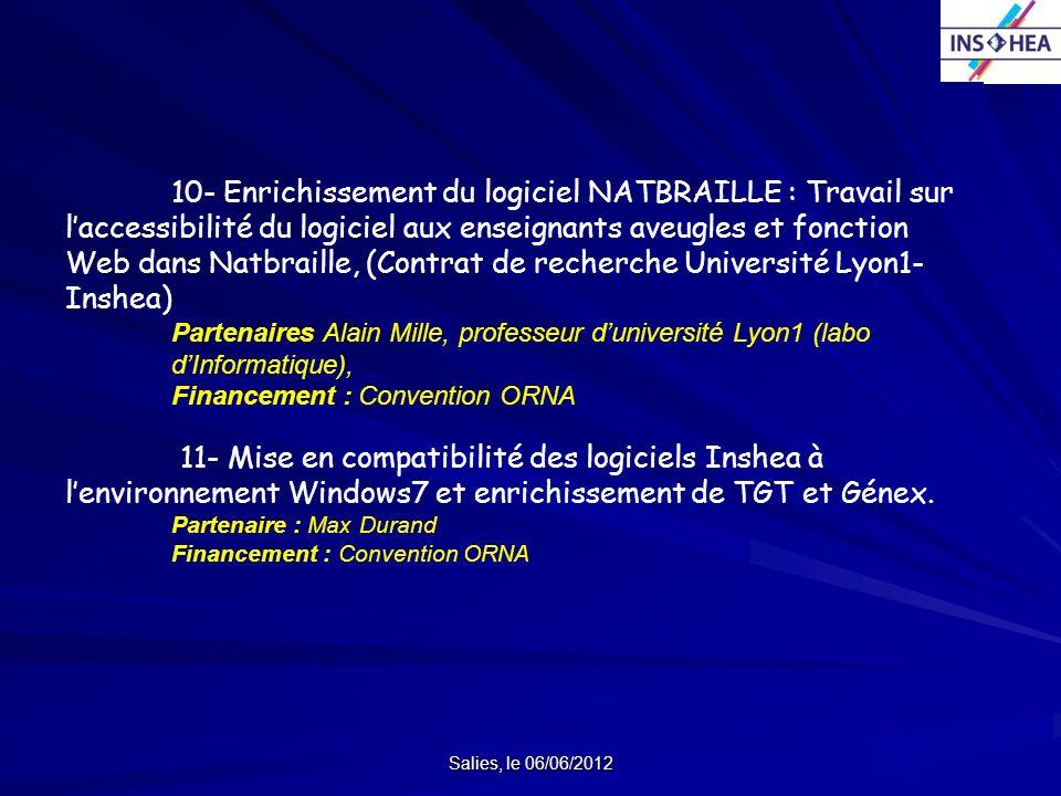 Salies, le 06/06/2012 10- Enrichissement du logiciel NATBRAILLE : Travail sur laccessibilité du logiciel aux enseignants aveugles et fonction Web dans