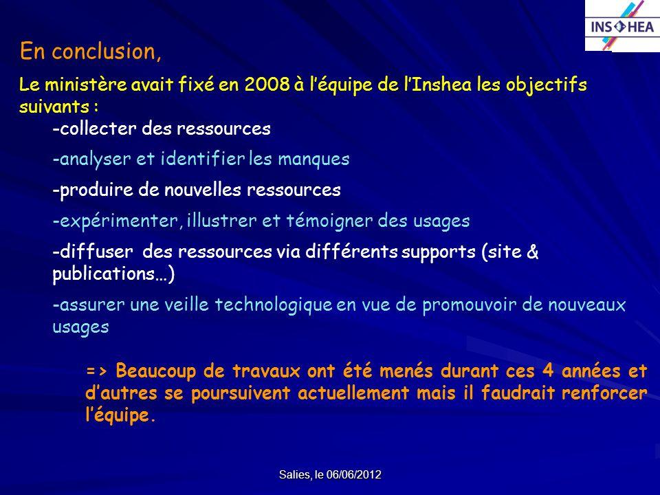 Salies, le 06/06/2012 En conclusion, Le ministère avait fixé en 2008 à léquipe de lInshea les objectifs suivants : -collecter des ressources -analyser