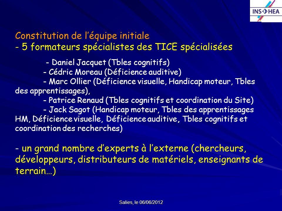 Salies, le 06/06/2012 Constitution de léquipe initiale - 5 formateurs spécialistes des TICE spécialisées - Daniel Jacquet (Tbles cognitifs) - Cédric M
