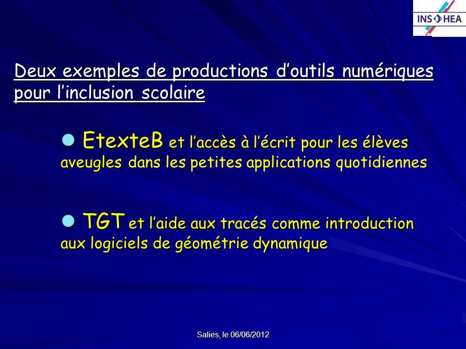 Salies, le 06/06/2012 Deux exemples de productions doutils numériques pour linclusion scolaire EtexteB et laccès à lécrit pour les élèves aveugles Ete