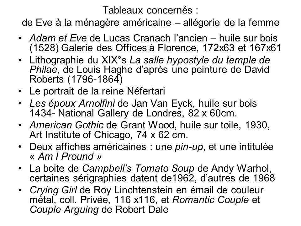 Tableaux concernés : de Eve à la ménagère américaine – allégorie de la femme Adam et Eve de Lucas Cranach lancien – huile sur bois (1528) Galerie des