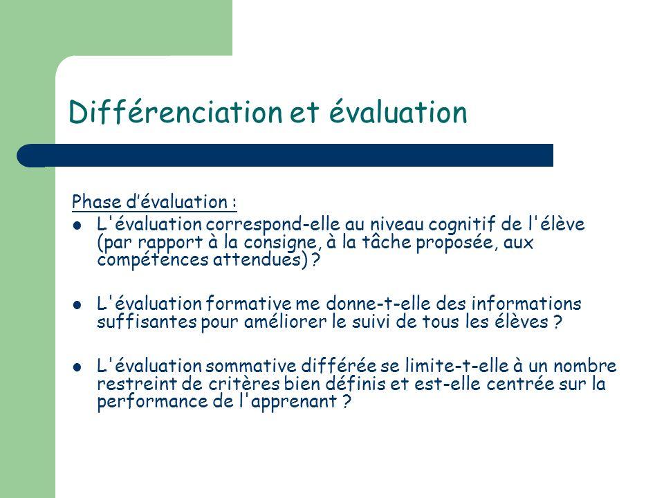 Différenciation et évaluation Phase dévaluation : L'évaluation correspond-elle au niveau cognitif de l'élève (par rapport à la consigne, à la tâche pr