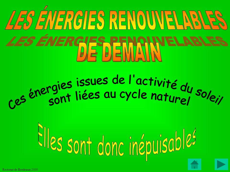 Rectorat de Bordeaux 2000 Utilisation de lampes basse consommation à la maison = d économie (600kWh) LA CHASSE AU GASPILLAGE Veilles de de : TV + décodeur (canal+) + magnétoscope + démodulateur satellite = (440kWh) 270F/an 370F/an