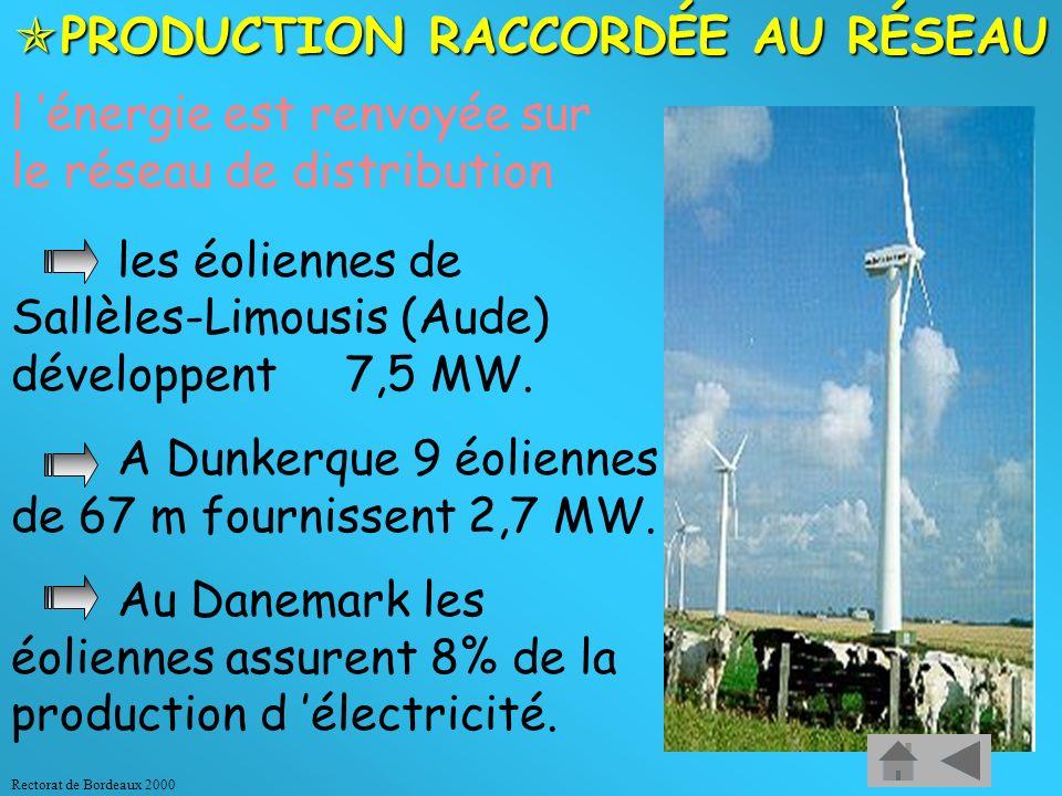 Rectorat de Bordeaux 2000 Exemples d applications : PRODUCTION DÉCENTRALISÉE : PRODUCTION DÉCENTRALISÉE : sites isolés non raccordés au réseau (petite