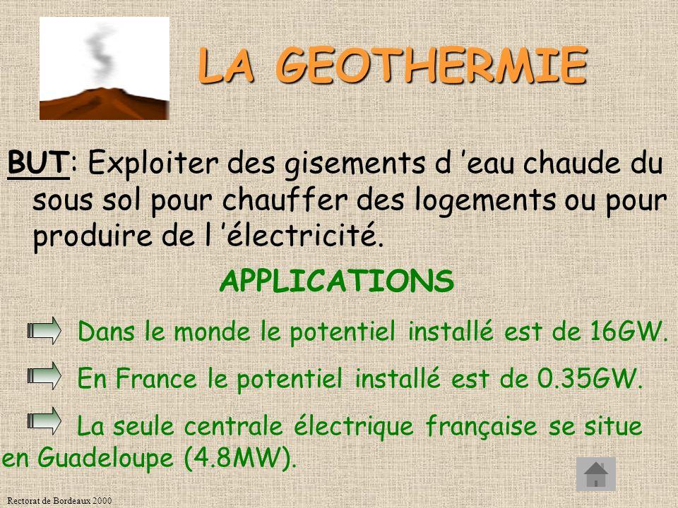 Rectorat de Bordeaux 2000 LA GEOTHERMIE BUT: Exploiter des gisements d eau chaude du sous sol pour chauffer des logements ou pour produire de l électricité.