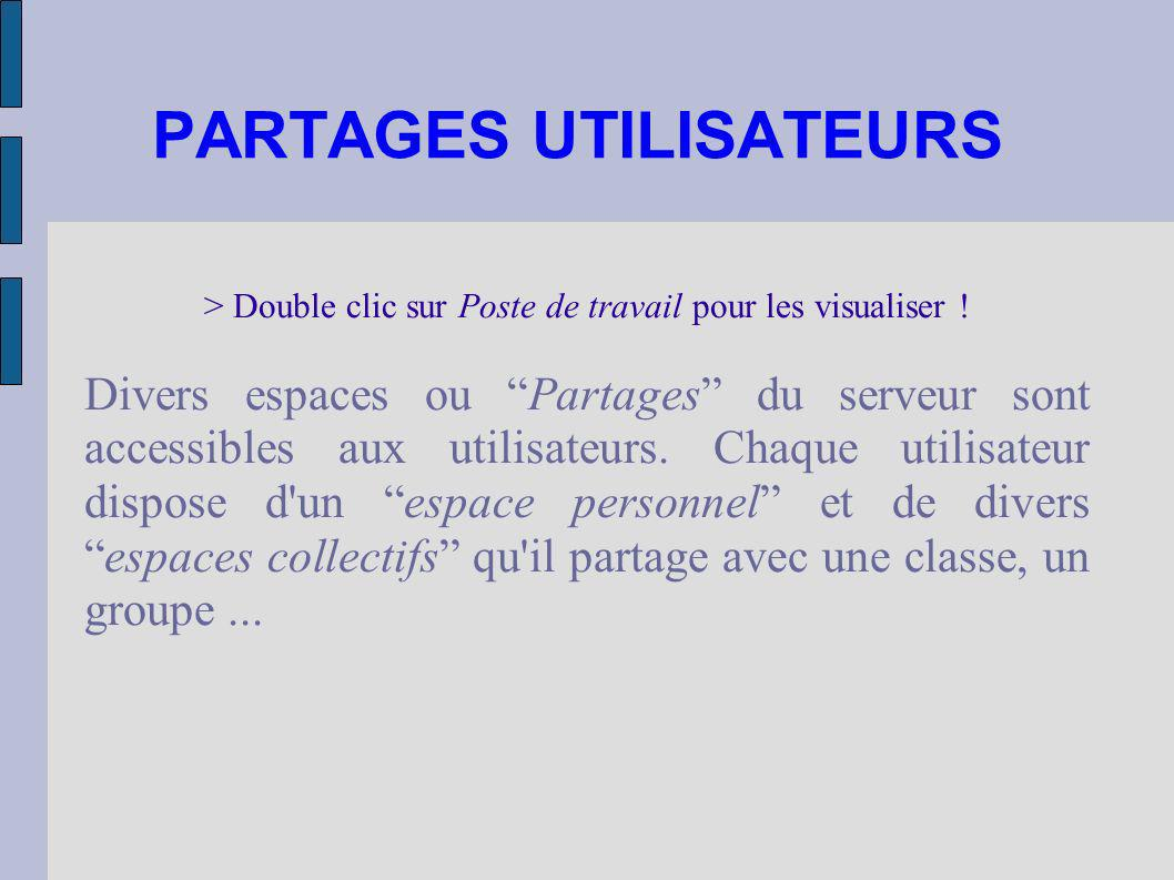 PARTAGES UTILISATEURS > Double clic sur Poste de travail pour les visualiser ! Divers espaces ou Partages du serveur sont accessibles aux utilisateurs