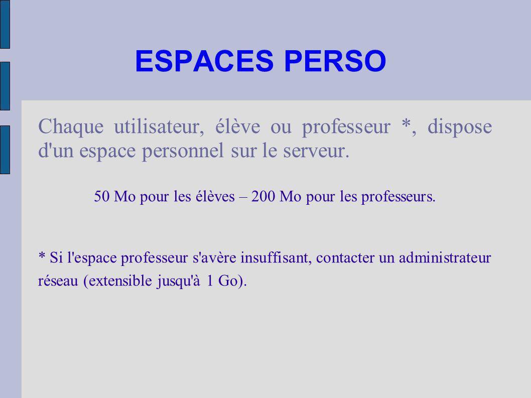 ESPACES PERSO Chaque utilisateur, élève ou professeur *, dispose d'un espace personnel sur le serveur. 50 Mo pour les élèves – 200 Mo pour les profess