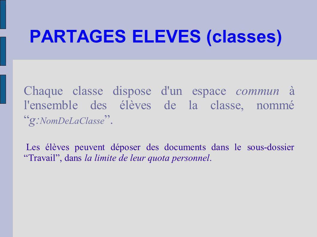 PARTAGES ELEVES (classes) Chaque classe dispose d'un espace commun à l'ensemble des élèves de la classe, nommég: NomDeLaClasse. Les élèves peuvent dép