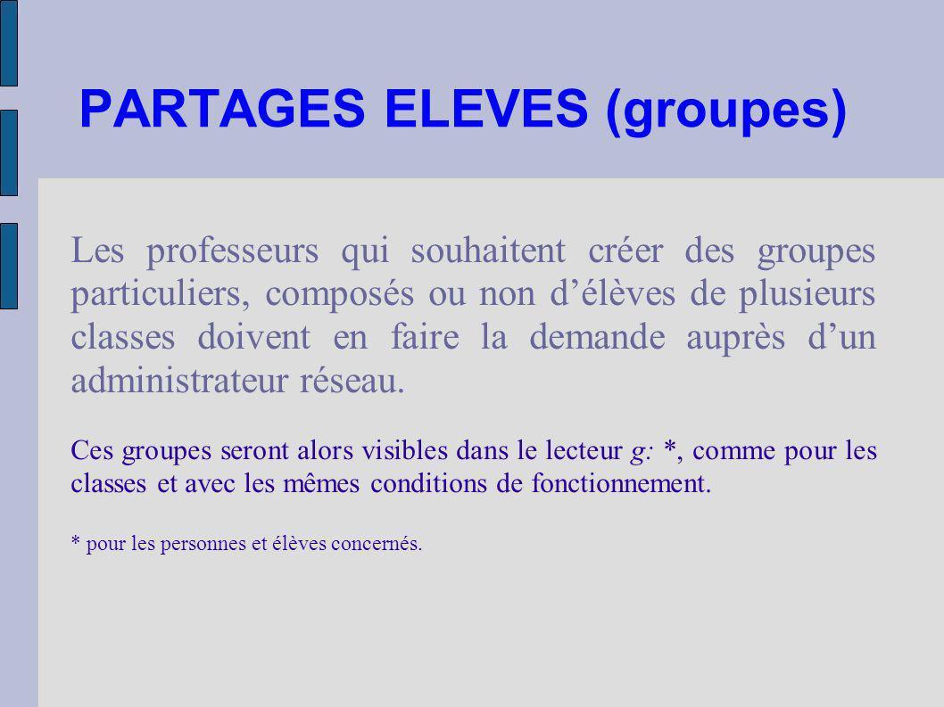PARTAGES ELEVES (groupes) Les professeurs qui souhaitent créer des groupes particuliers, composés ou non délèves de plusieurs classes doivent en faire