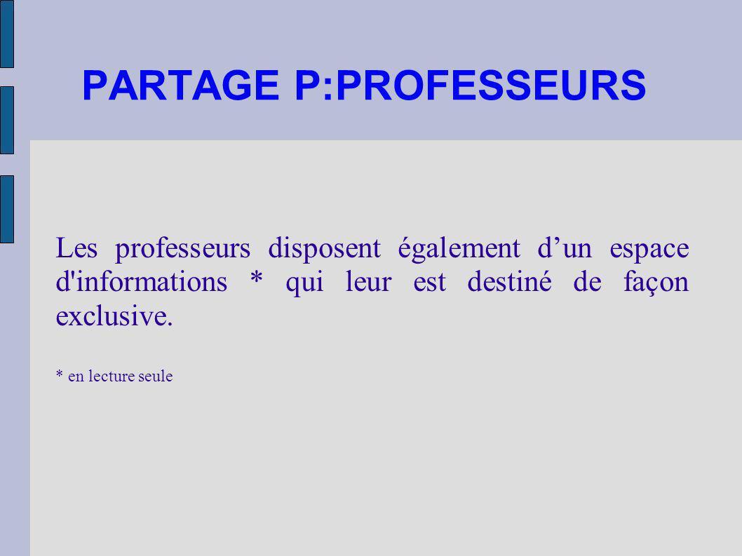 PARTAGE P:PROFESSEURS Les professeurs disposent également dun espace d'informations * qui leur est destiné de façon exclusive. * en lecture seule