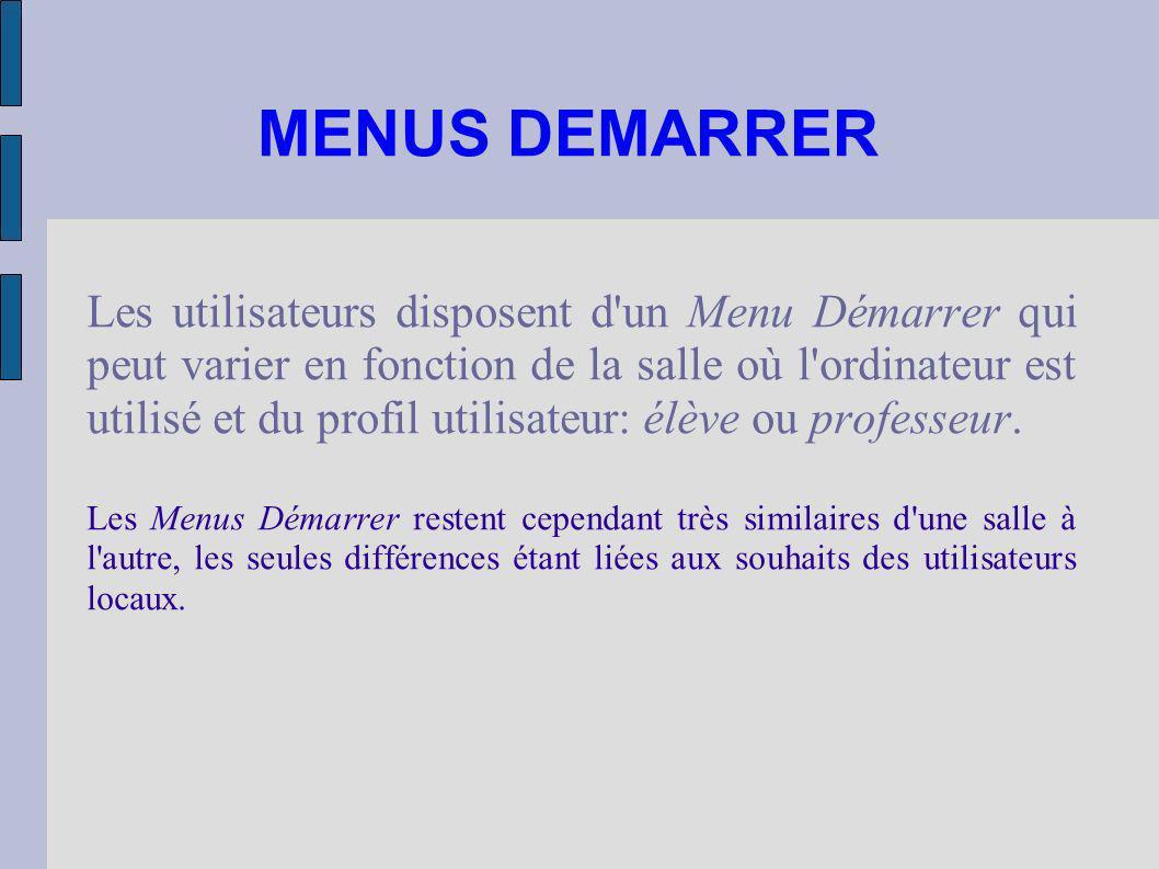 MENUS DEMARRER Les utilisateurs disposent d'un Menu Démarrer qui peut varier en fonction de la salle où l'ordinateur est utilisé et du profil utilisat
