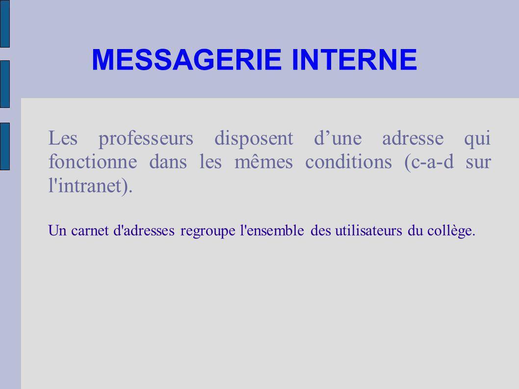 MESSAGERIE INTERNE Les professeurs disposent dune adresse qui fonctionne dans les mêmes conditions (c-a-d sur l'intranet). Un carnet d'adresses regrou