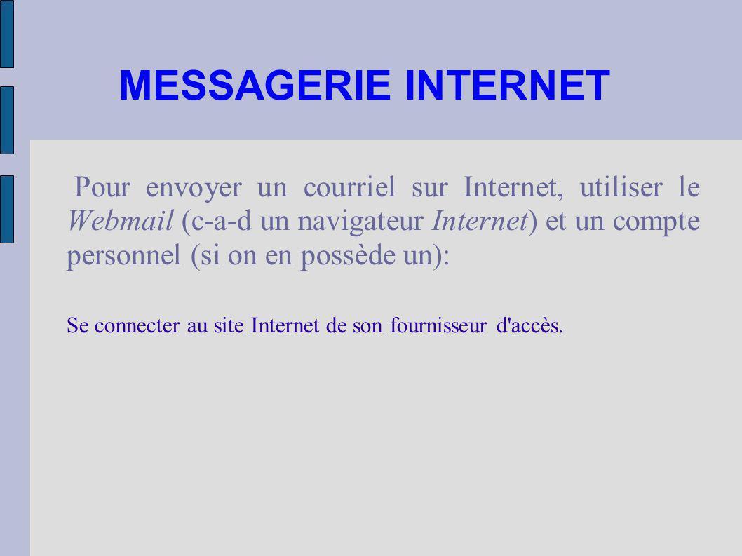 MESSAGERIE INTERNET Pour envoyer un courriel sur Internet, utiliser le Webmail (c-a-d un navigateur Internet) et un compte personnel (si on en possède