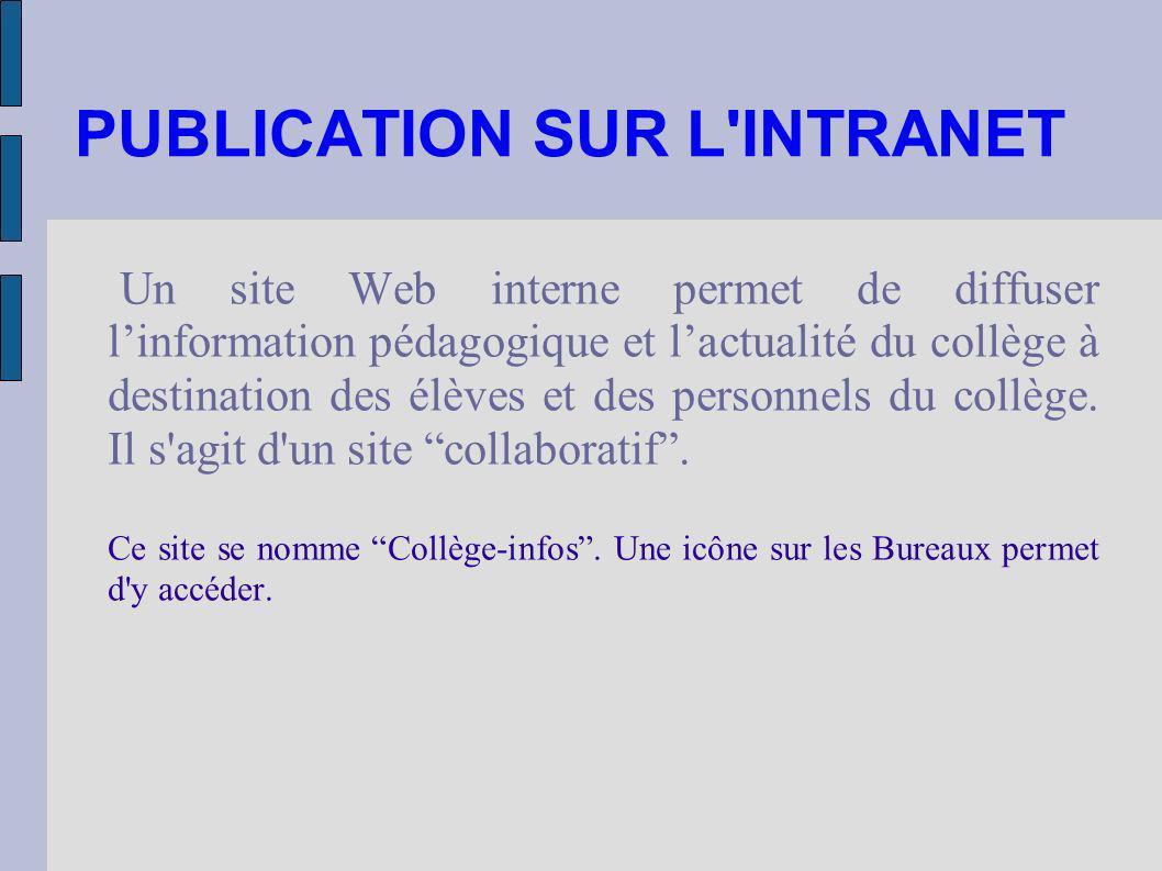 PUBLICATION SUR L'INTRANET Un site Web interne permet de diffuser linformation pédagogique et lactualité du collège à destination des élèves et des pe