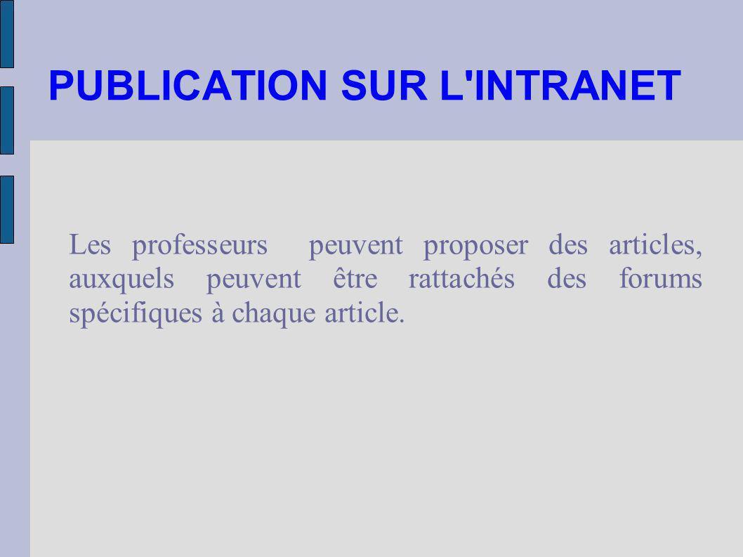 PUBLICATION SUR L'INTRANET Les professeurs peuvent proposer des articles, auxquels peuvent être rattachés des forums spécifiques à chaque article.