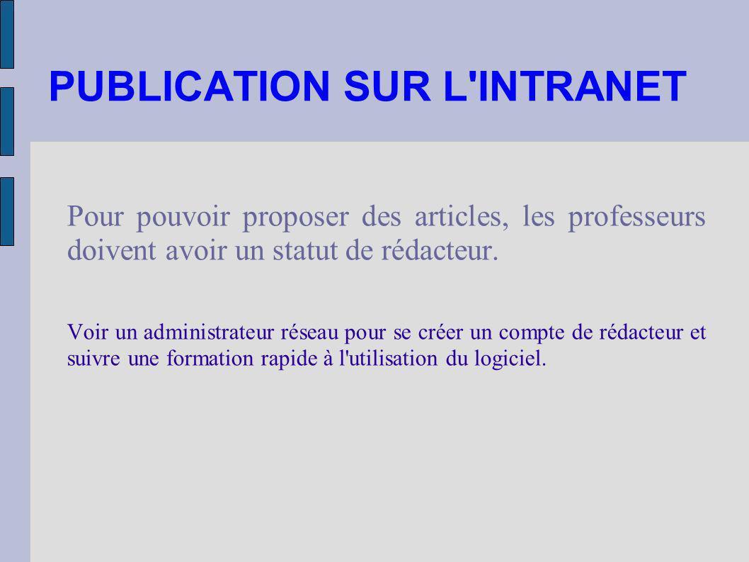 PUBLICATION SUR L'INTRANET Pour pouvoir proposer des articles, les professeurs doivent avoir un statut de rédacteur. Voir un administrateur réseau pou
