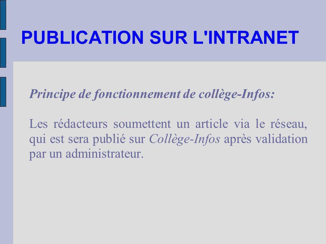 PUBLICATION SUR L'INTRANET Principe de fonctionnement de collège-Infos: Les rédacteurs soumettent un article via le réseau, qui est sera publié sur Co