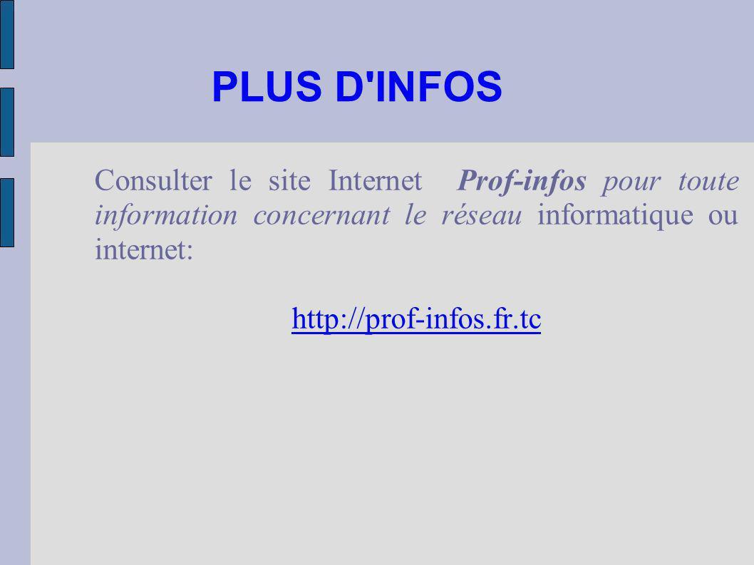 PLUS D'INFOS Consulter le site Internet Prof-infos pour toute information concernant le réseau informatique ou internet: http://prof-infos.fr.tc