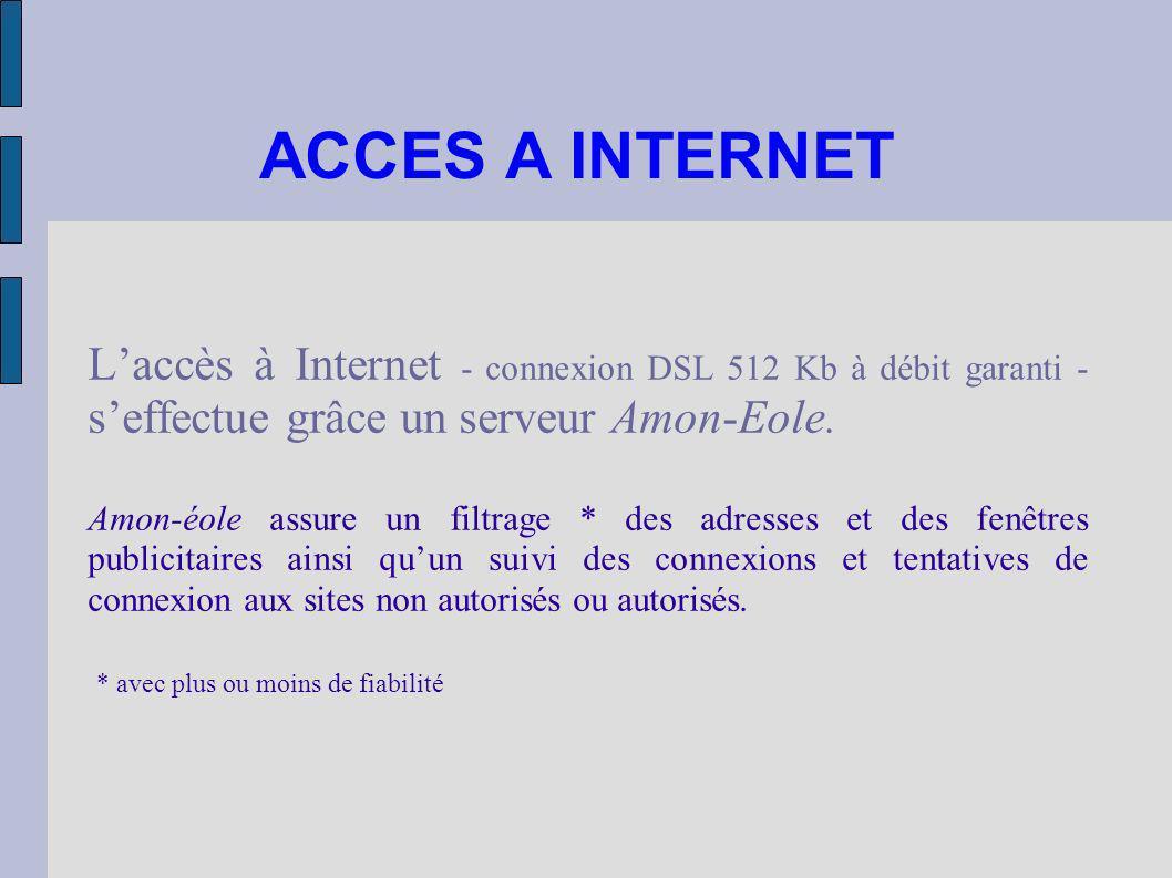 ACCES A INTERNET Laccès à Internet - connexion DSL 512 Kb à débit garanti - seffectue grâce un serveur Amon-Eole. Amon-éole assure un filtrage * des a