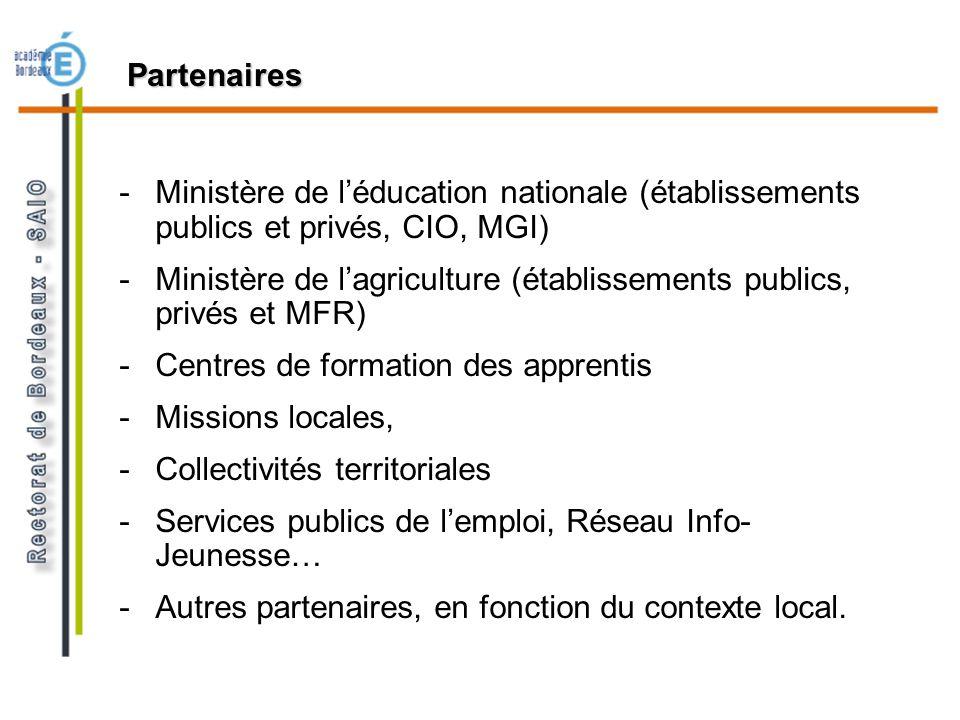 Partenaires -Ministère de léducation nationale (établissements publics et privés, CIO, MGI) -Ministère de lagriculture (établissements publics, privés