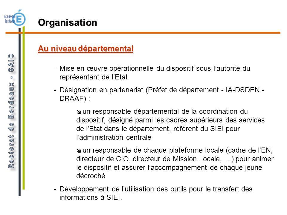 Au niveau départemental -Mise en œuvre opérationnelle du dispositif sous lautorité du représentant de lEtat -Désignation en partenariat (Préfet de dép