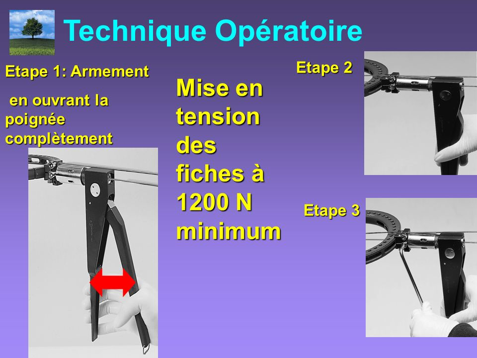 Mise en tension des fiches à 1200 N minimum Etape 1: Armement en ouvrant la poignée complètement en ouvrant la poignée complètement Etape 3 Etape 2 Te