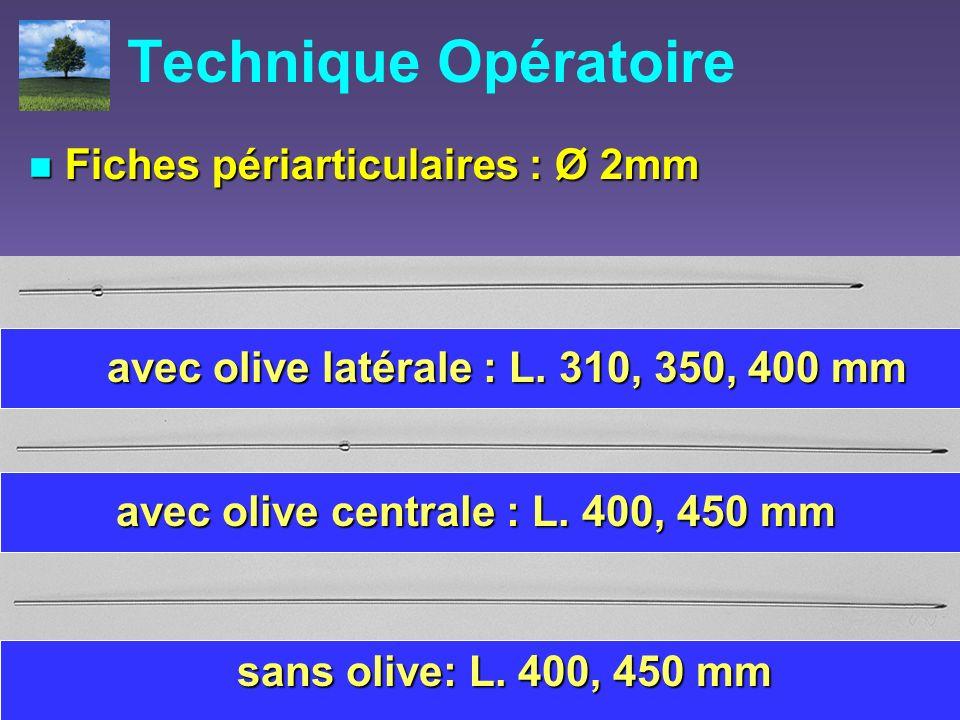 Technique Opératoire Fiches périarticulaires : Ø 2mm Fiches périarticulaires : Ø 2mm avec olive latérale : L. 310, 350, 400 mm avec olive centrale : L