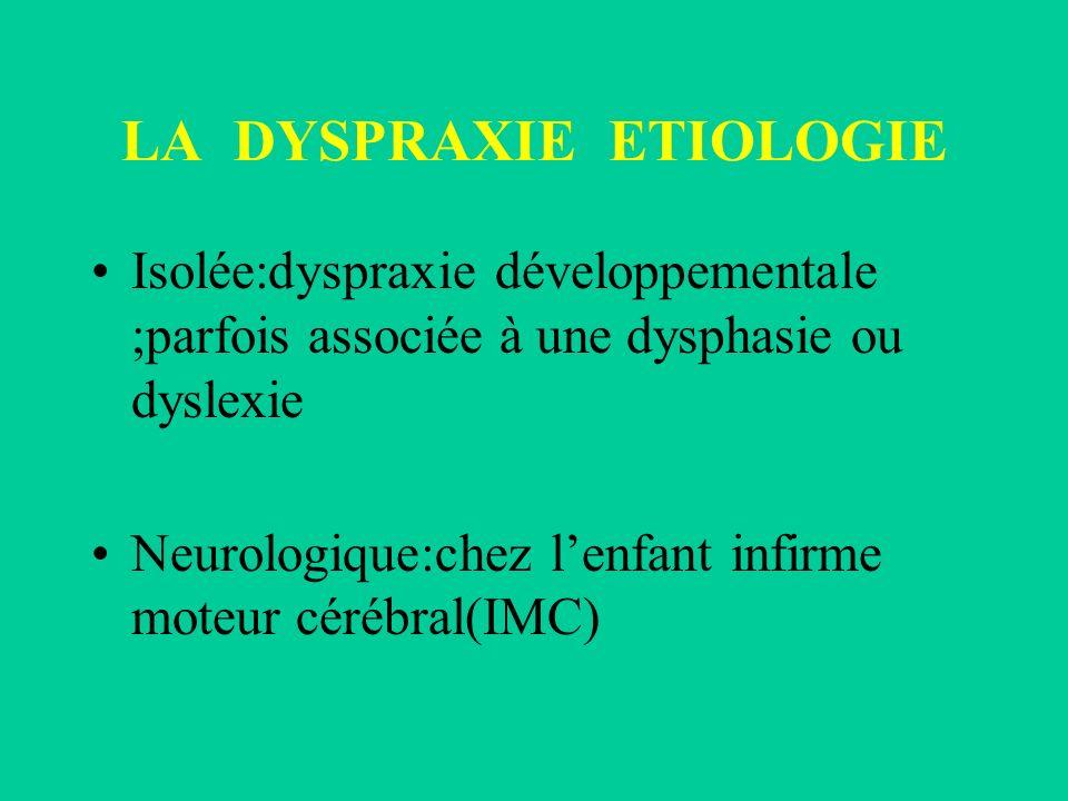 LA DYSPRAXIE ETIOLOGIE Isolée:dyspraxie développementale ;parfois associée à une dysphasie ou dyslexie Neurologique:chez lenfant infirme moteur cérébr
