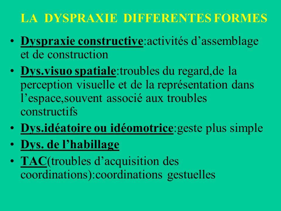 LA DYSPRAXIE DIFFERENTES FORMES Dyspraxie constructive:activités dassemblage et de construction Dys.visuo spatiale:troubles du regard,de la perception