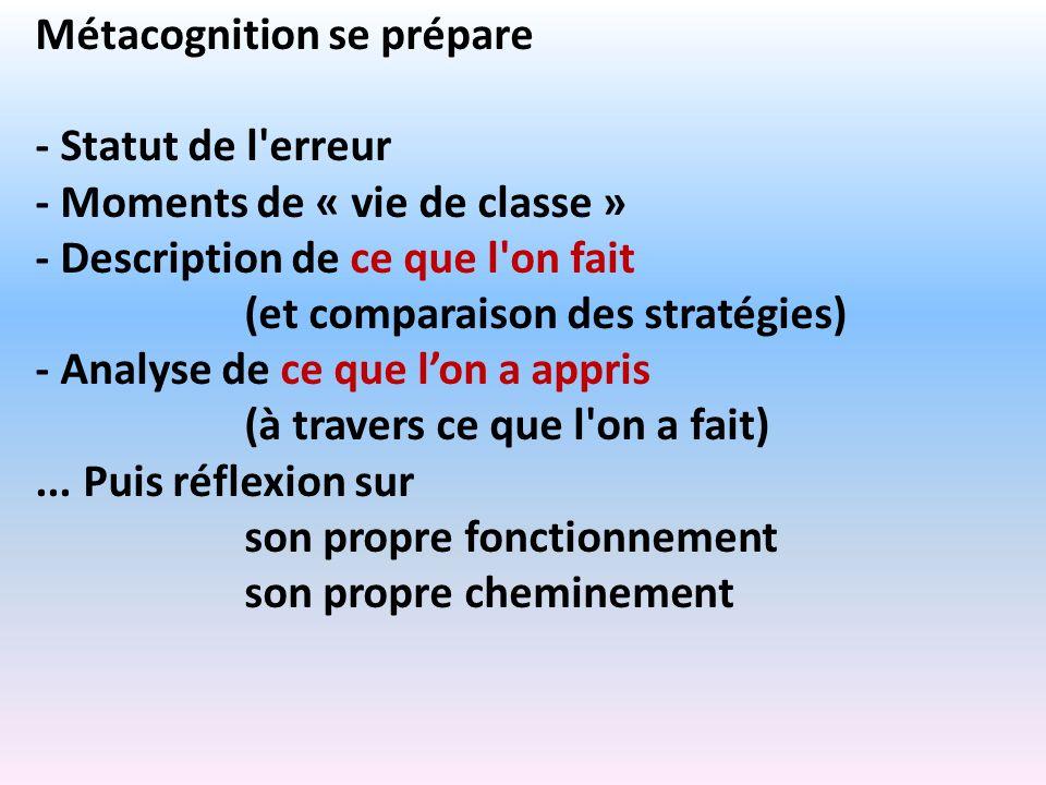 Métacognition se prépare - Statut de l'erreur - Moments de « vie de classe » - Description de ce que l'on fait (et comparaison des stratégies) - Analy