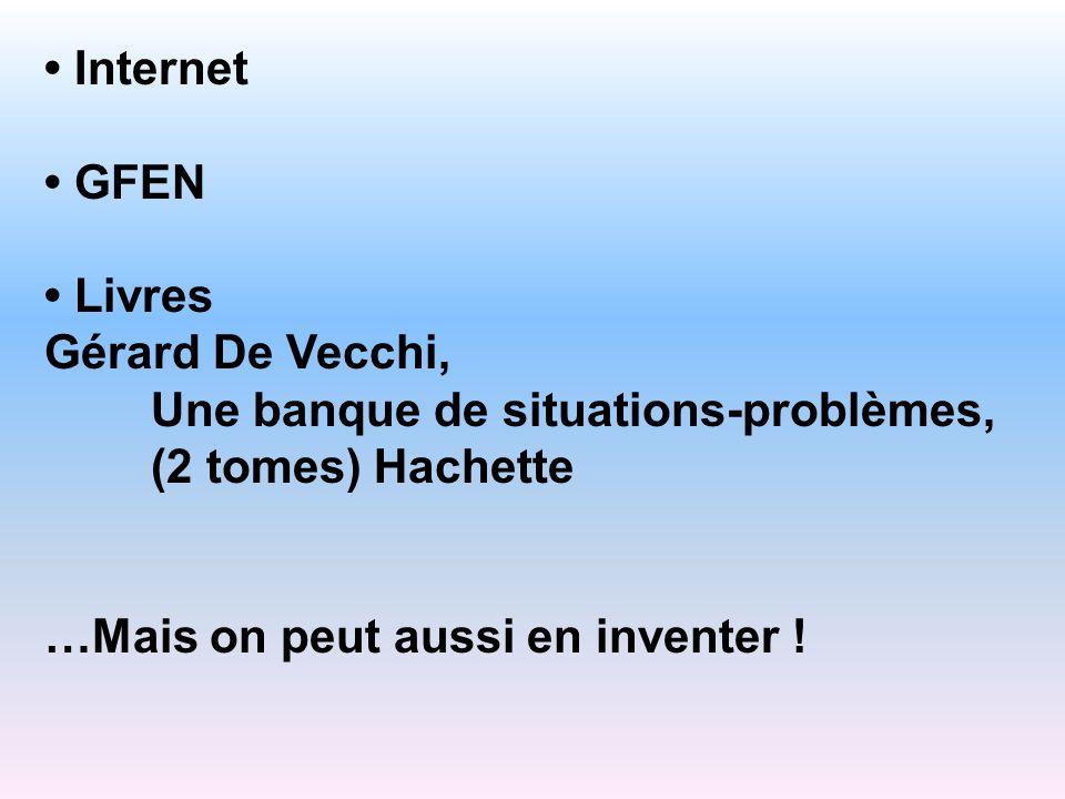 Internet GFEN Livres Gérard De Vecchi, Une banque de situations-problèmes, (2 tomes) Hachette …Mais on peut aussi en inventer !