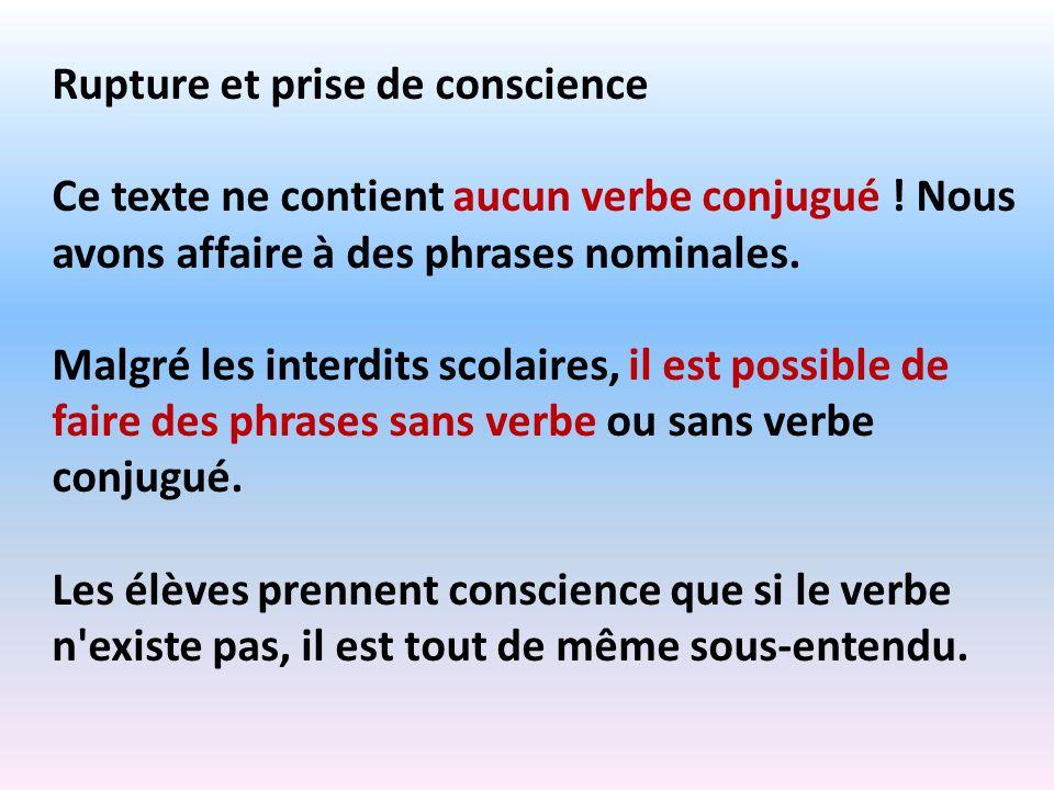Rupture et prise de conscience Ce texte ne contient aucun verbe conjugué ! Nous avons affaire à des phrases nominales. Malgré les interdits scolaires,