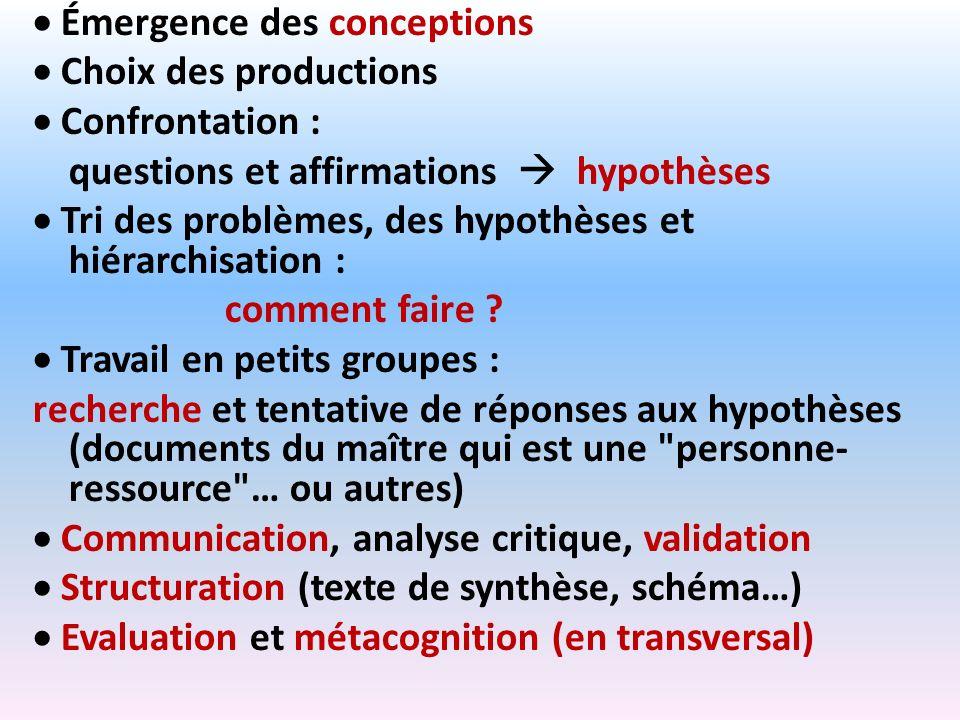 Émergence des conceptions Choix des productions Confrontation : questions et affirmations hypothèses Tri des problèmes, des hypothèses et hiérarchisat