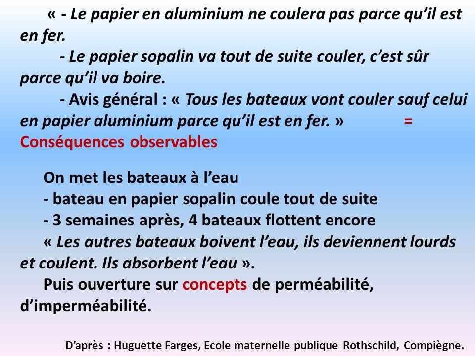 « - Le papier en aluminium ne coulera pas parce quil est en fer. - Le papier sopalin va tout de suite couler, cest sûr parce quil va boire. - Avis gén