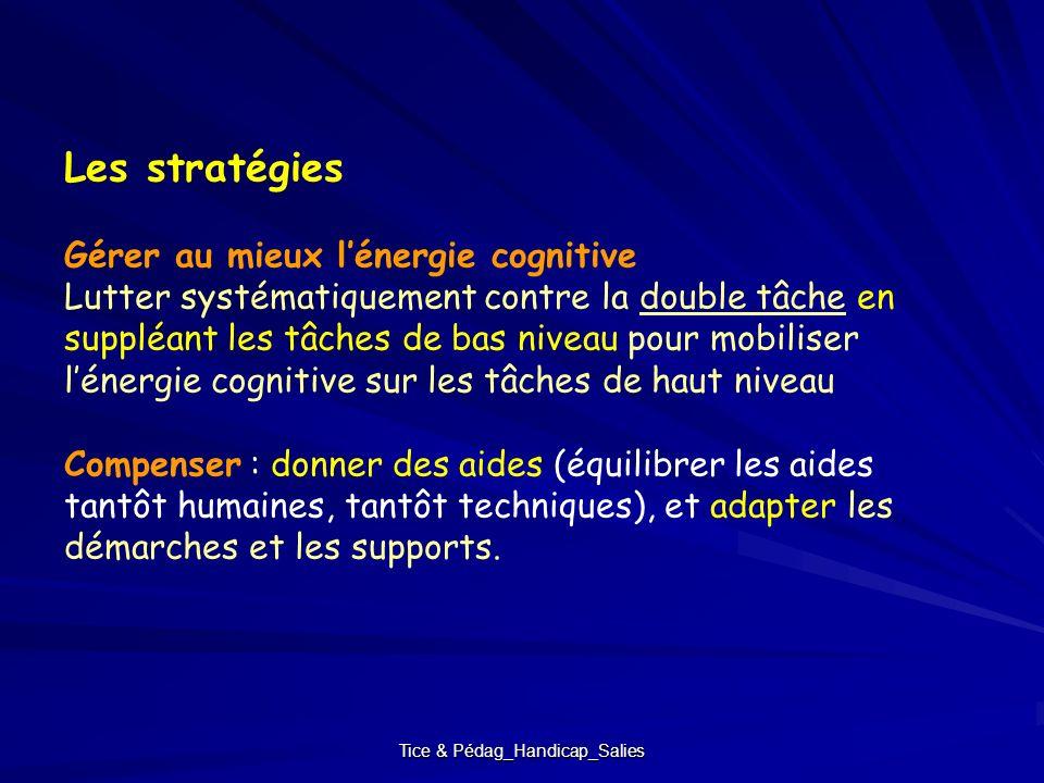 Tice & Pédag_Handicap_Salies Les stratégies Gérer au mieux lénergie cognitive Lutter systématiquement contre la double tâche en suppléant les tâches d