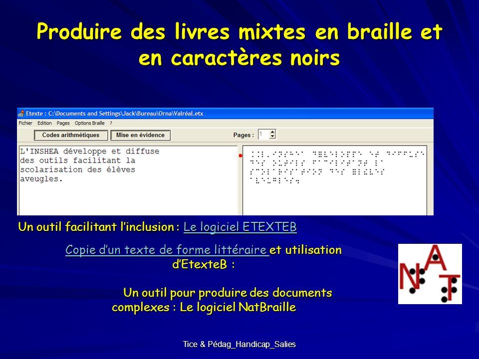 Tice & Pédag_Handicap_Salies Produire des livres mixtes en braille et en caractères noirs Un outil facilitant linclusion : Le logiciel ETEXTEB Le logi